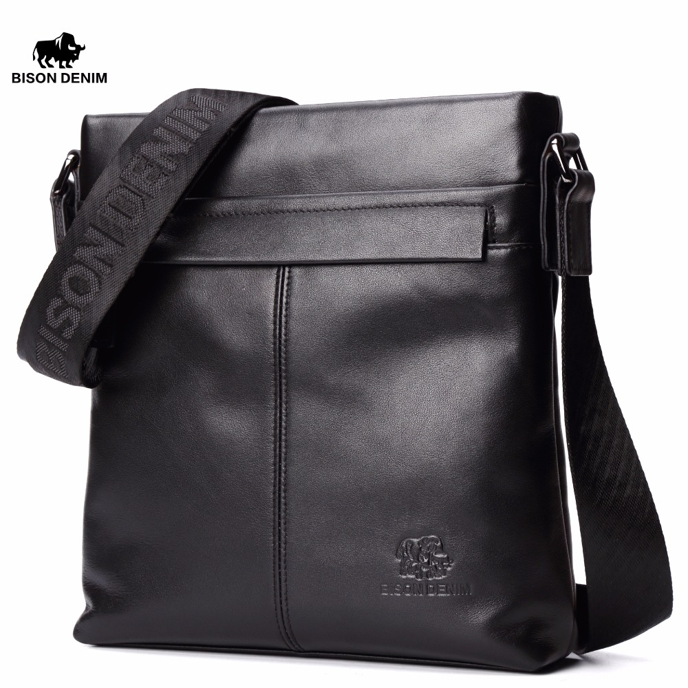 Бизон джинсовые натуральная кожа 10,5 Ipad pro Сумка Одежда высшего качества черного цвета из воловьей кожи Crossbody сумка для Для мужчин Повседнев... ...
