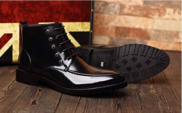 Mens New Style zip lace up dress Boots
