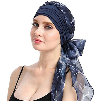 28e53f94c Haimeikang 2019 nueva gorra de quimio turbante largo banda para el cabello  bufanda cabeza envuelta sombrero Boho preatado Bandana cabello accesorios  para ...
