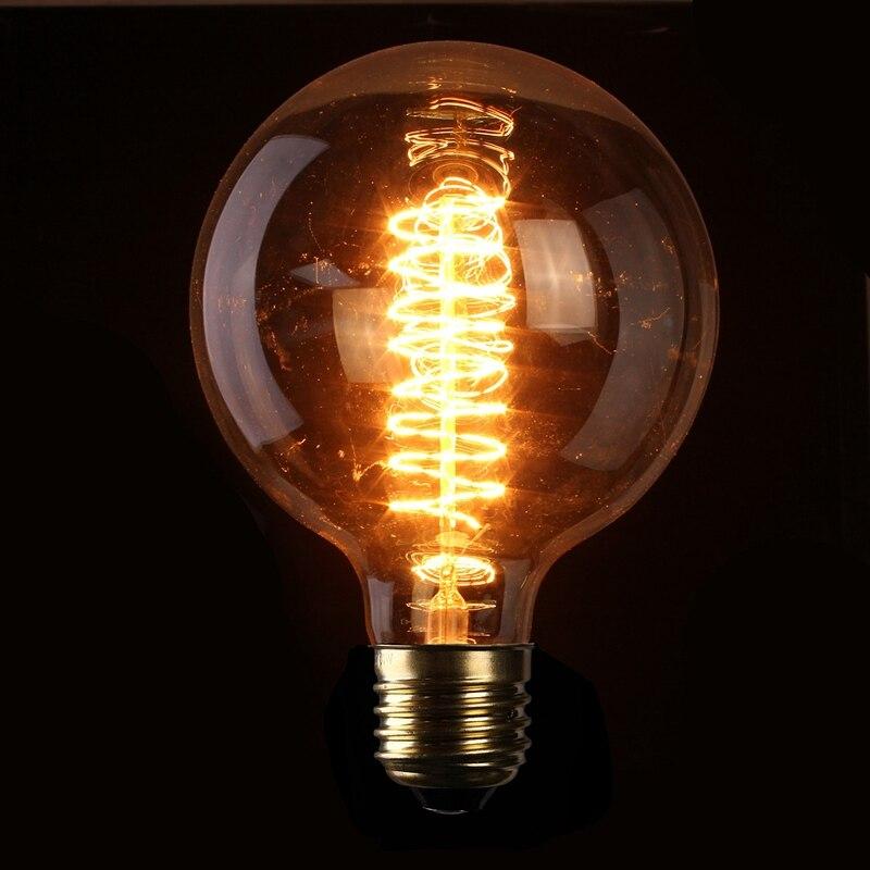 Vintage Edison Lampe Licht E27 G125 60 Watt Retro Antiken Wolfram Glühlampe Glühlampen Urlaub Anhänger Beleuchtung 110 V 220 V