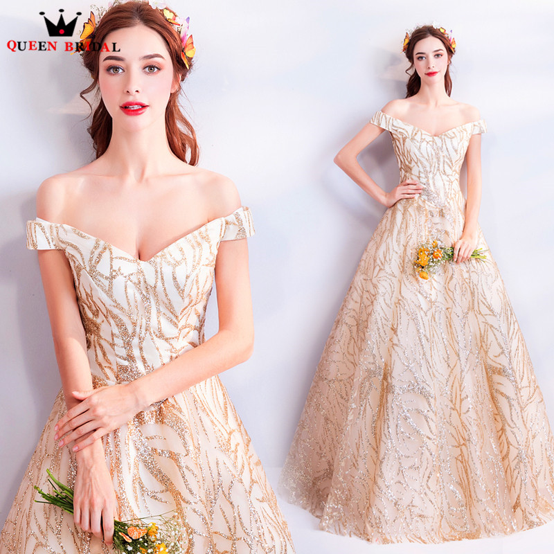 A line V neck Golden Sequin Beaded Luxury Long Formal Evening Dresses 2018  New Party Dress Evening Gown Robe De Soiree MT45-in Evening Dresses from  Weddings ... 499e3debe539