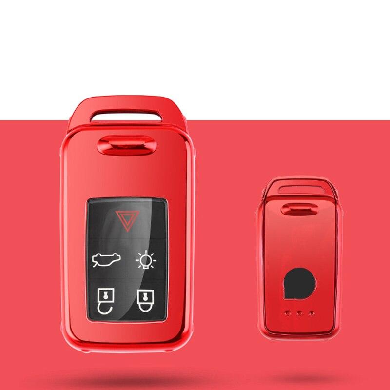 Защитный чехол ключа автомобиля чехол для VOLVO S60L S80L XC60 S60 V60 s90 cx60 xc90 vx90 стайлинга автомобилей смарт-ключ оболочки крышки брелок держатель - Название цвета: red single shell