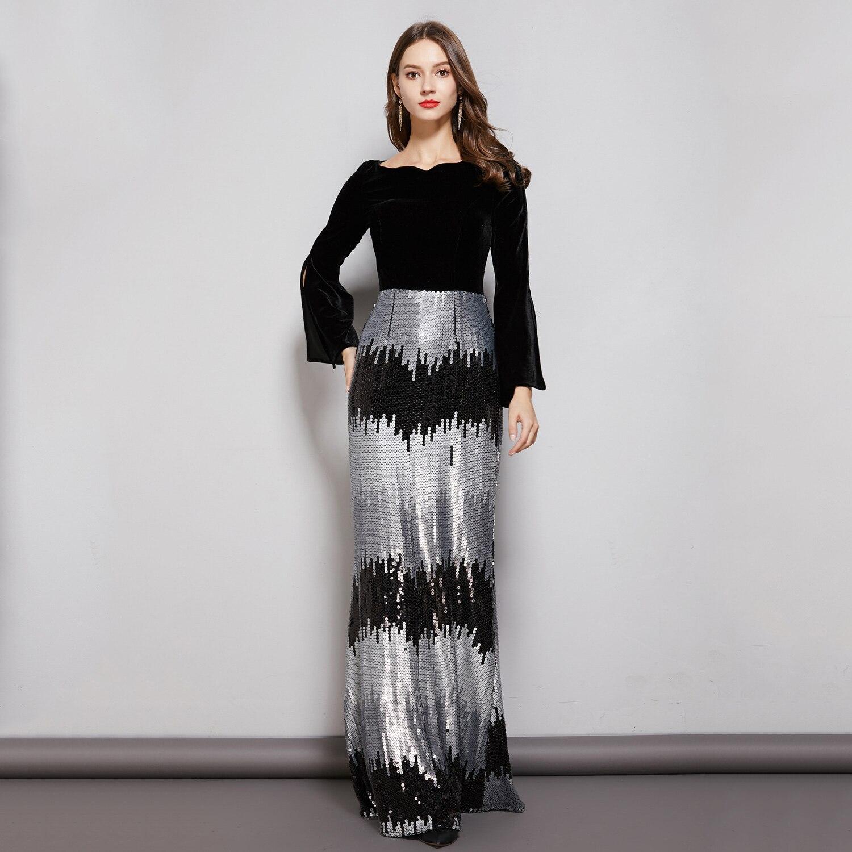 Paillettes Robe De soirée Sexy 2019 velours noir manches longues Robe De soirée formelle col rond une ligne robes De bal robes De soirée