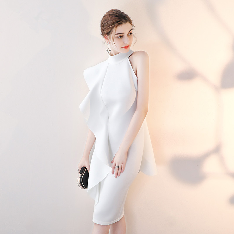 WEIYIN Real Picture Elegant Short Prom Dresses 2018 Sleeveless High Neck  Party Dress Women Black Bodycon Evening Formal Dress -in Prom Dresses from  Weddings ... 0fc8c42483e2
