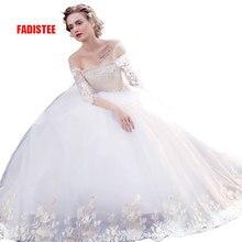 FADISTEE New arrival eleganckie suknie ślubne koronkowe Vestido de Festa dekolt w łódkę aplikacje trzy czwarte rękawy darmowa wysyłka