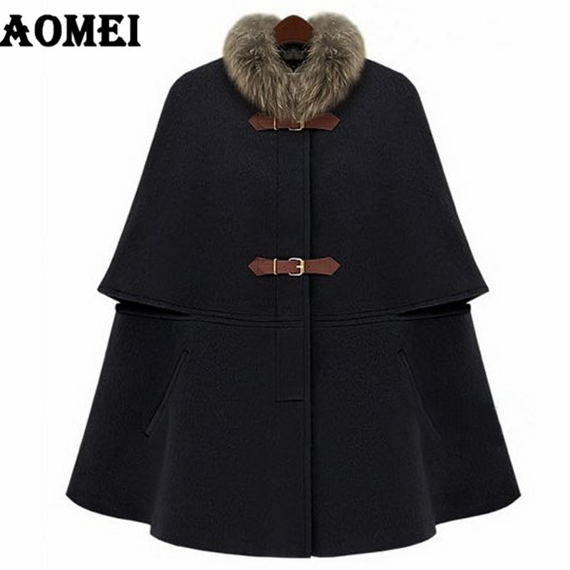Winter Fashion Wool Feminine Coat Loose Clock Removeble Fur Collar Wear to Work Office Lady Outwear Clothing Fall Overcoat Cape