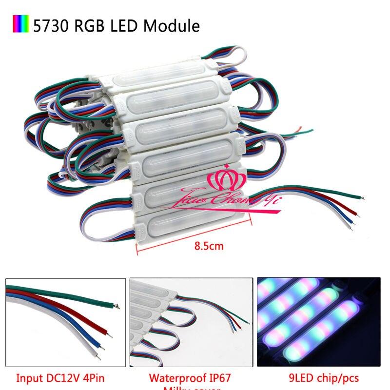 все цены на 5730 9LED COB LED 160 degrees Module RGB DC12V IP67 waterproof lighting 100PCS онлайн