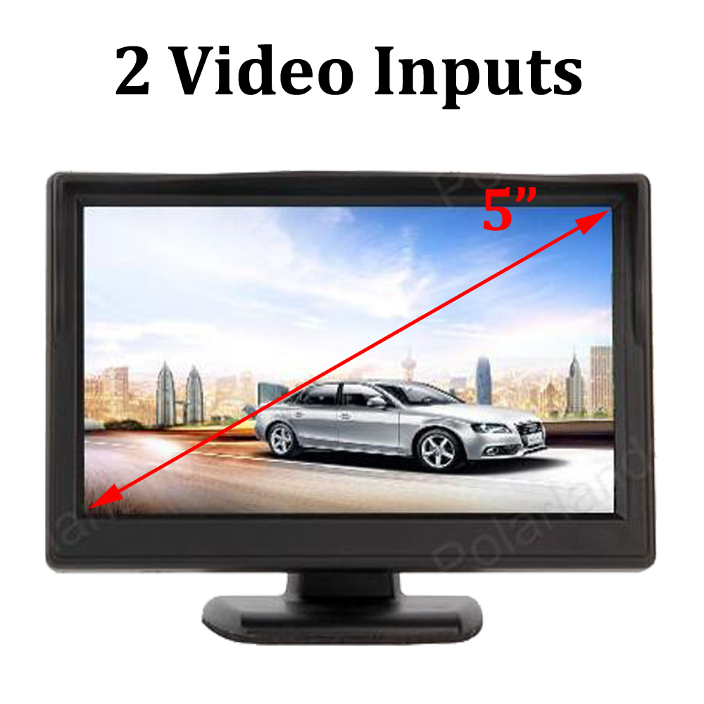 5 Inch TFT LCD Screen Parking Rear View Monitor 2 Video Inputs Car Monitor Support VCD DVD rearview Camera