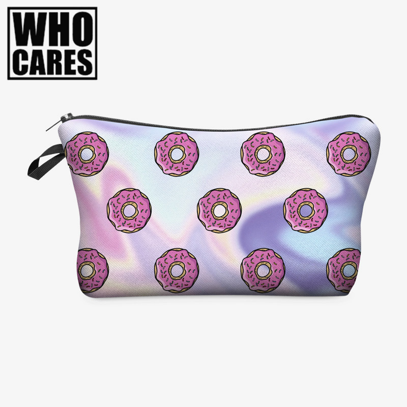 Holo donuts 3D Printing cosmetic bag 2016 Fashion New women Pencil case makeup bag neceser para mujer trousse de maquillage bags