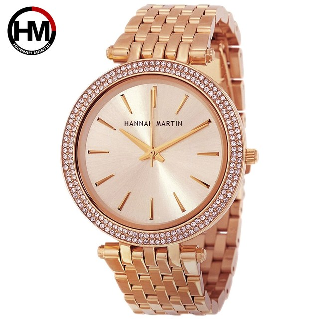 Kobiet mody zegarki kwarcowe Hot New Top marka luksusowe złota róża biznes diament wodoodporne panie zegarek na rękę Relogio Feminino