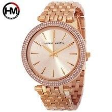 Relojes de cuarzo de moda para mujer, camiseta nueva de marca de lujo, oro rosa, diamante, negocio, reloj de pulsera impermeable para mujer, reloj femenino