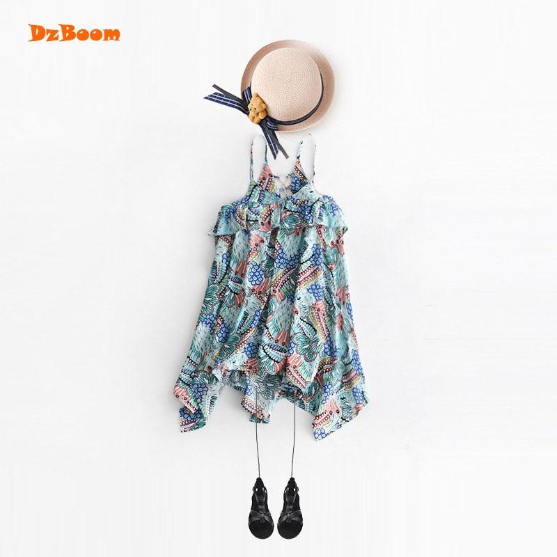 DzBoom Summer Hawaii Style Irregular Girls Dress Kids Beach Wear New Pattern Child Print V Neck