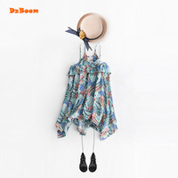 DzBoom Summer Hawaii Style Irregular Girls Dress Kids Beach Wear New Pattern Child Print V Neck