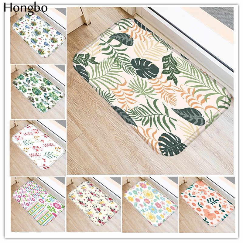 Hongbo 40*60 cm Floral plante imprimé tapis de sol anti-dérapant tapis d'extérieur animaux porte avant tapis tapis de cuisine pour salon