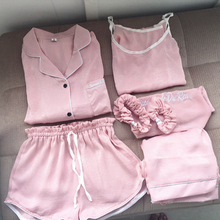 Explosion models pajamas European silk womens seven-piece women spring and summer autumn loose home service suit