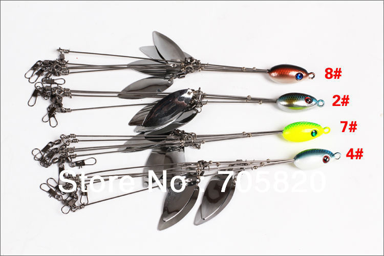 Lures four spinner bait blades five wire umbrella rig five for Umbrella rig fishing
