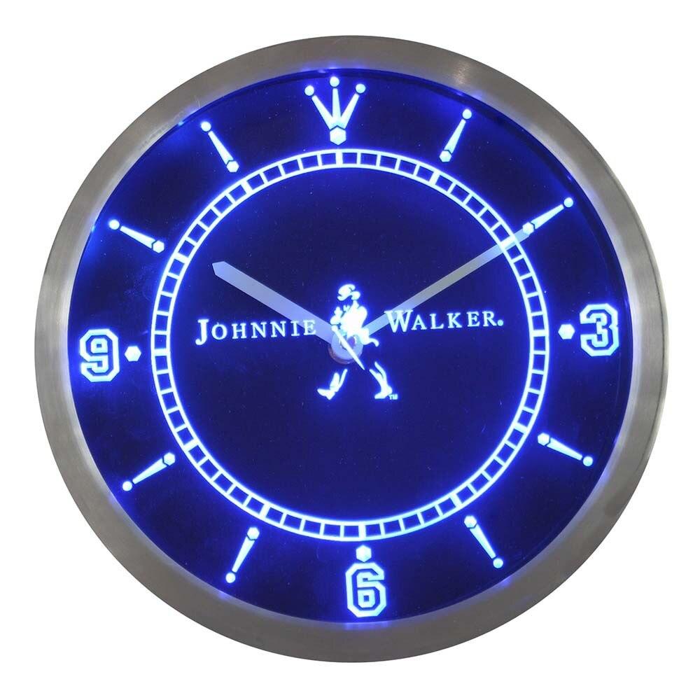 nc0102 Johnnie Walker Whiskey Wine Bar Neon Light Signs LED Wall Clock