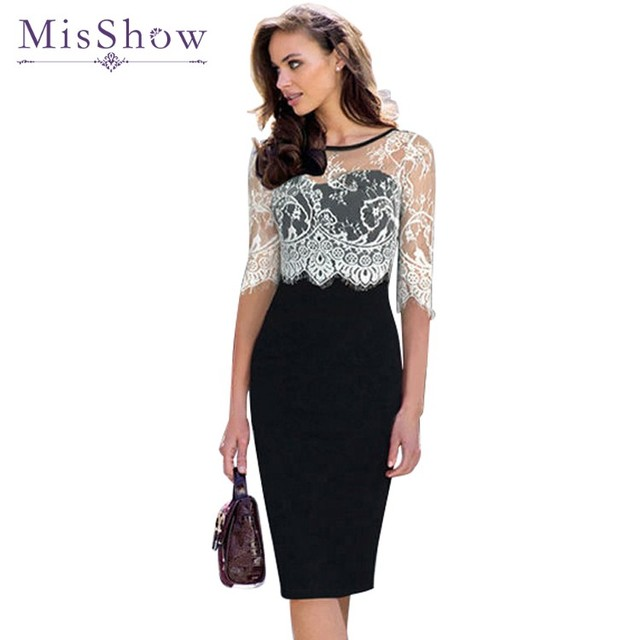5f54c9e274 Women Dress Party Evening Elegant Lace Half Sleeves Bodycon Ladies Office Pencil  Dress Vestido Casual Wear