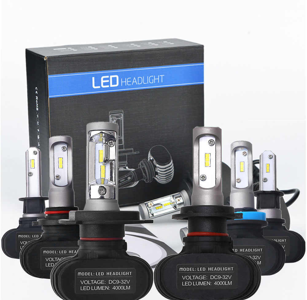 1Pair 9005 HB3 9006 HB4 H11 H4 H7 H8 Led H1 Auto Car Headlight S1 25W 4000LM 6000K Automobile Bulb All In One CSP Lumileds Lamp