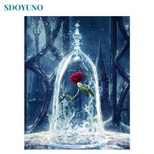 SDOYUNO 60x75cm Rose oil Painting By Numbers Flowers number painting on canvas Home Decoration Coloring Unique Gift