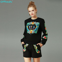 QYFCIOUFU High Quality Embroidery Two Piece Set Women Sweat Suits Long Sleeves Sweatsuit Runway Casual Shorts