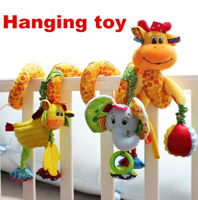 New arrival cute infants kids baby crib rattles revolves around bed lathe stroller playing Mobile hanging toy