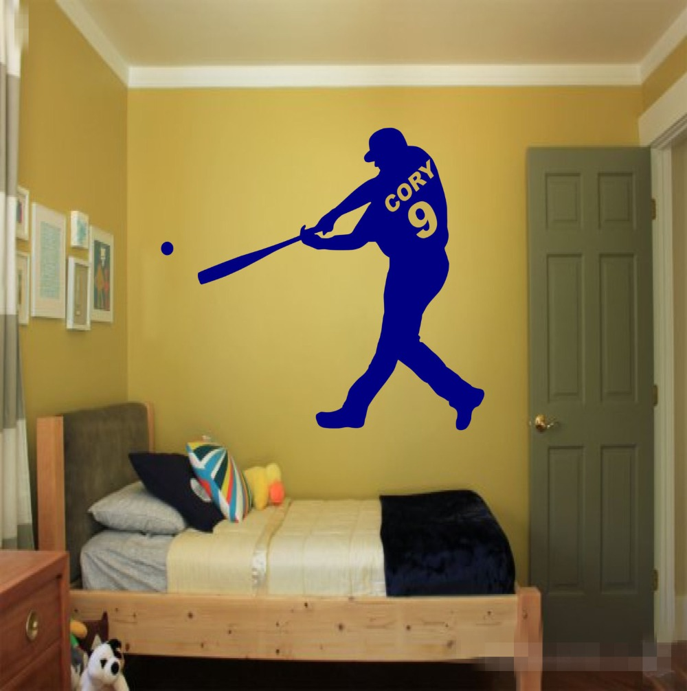 Personalized Name and Number Baseball player Wall Decal Art Boys ...