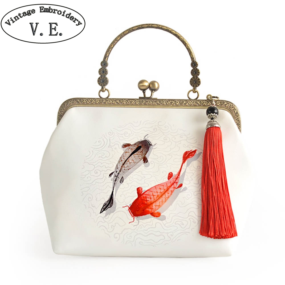 Vintage Embroidery Lady Cream White Day Clutch Fish Print Tassel Chain Shoulder Bag Cross-Body Tote Girl Shoulder Messenger Bags figure print chain bag