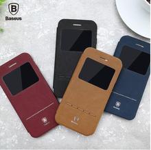 Для iPhone 7 7 плюс Baseus Terse Кожаный Чехол с Окном Смарт сна Случая Стойки Откидная Крышка Для Apple iPhone 7 Плюс Крышка