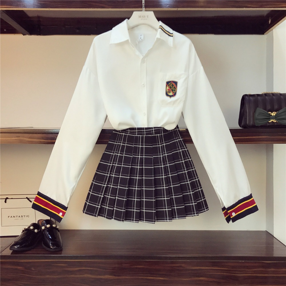 2019 Spring Fashion Women's Sets Long Sleeves Shirt + Plaid Skirt Two Pieces Set Student Suits A815