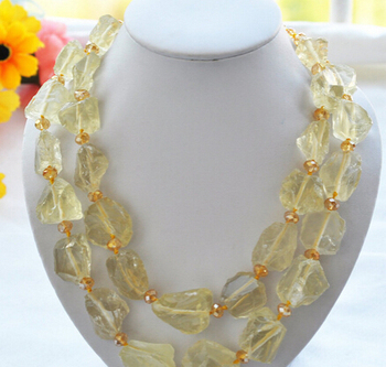 "Miss charm Jew1565 Nature 2row 21"" 32MM yellow crude ore citrine necklace"