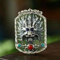 RADHORSE Pendant 925 Sterling Silver Plant Rectangle Hetian Jade Dragon Head Modeling Fine Jewelry S925 Silver Pendants