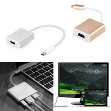 Silver Gold Flexible Type C to USB 3.0 HDMI Converter Line Charger Adapter Cables Connectors for Apple Macbook Chromebook