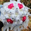Горячие Красивые Белые Перья Rinnon Свадебный Букет Ручной Работы Свадебные Букеты Искусственный Жемчуг Цветок Розы Букет Пользовательские