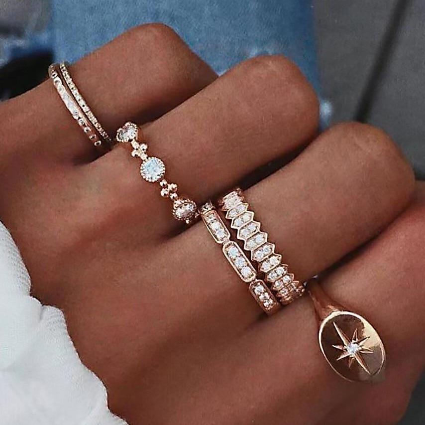 Модные многокомпонентные женские комплекты колец 2019 милое ожерелье с каплевидными кристаллами богемное очаровательное кольцо наборы для женщин вечерние ювелирные изделия подарок