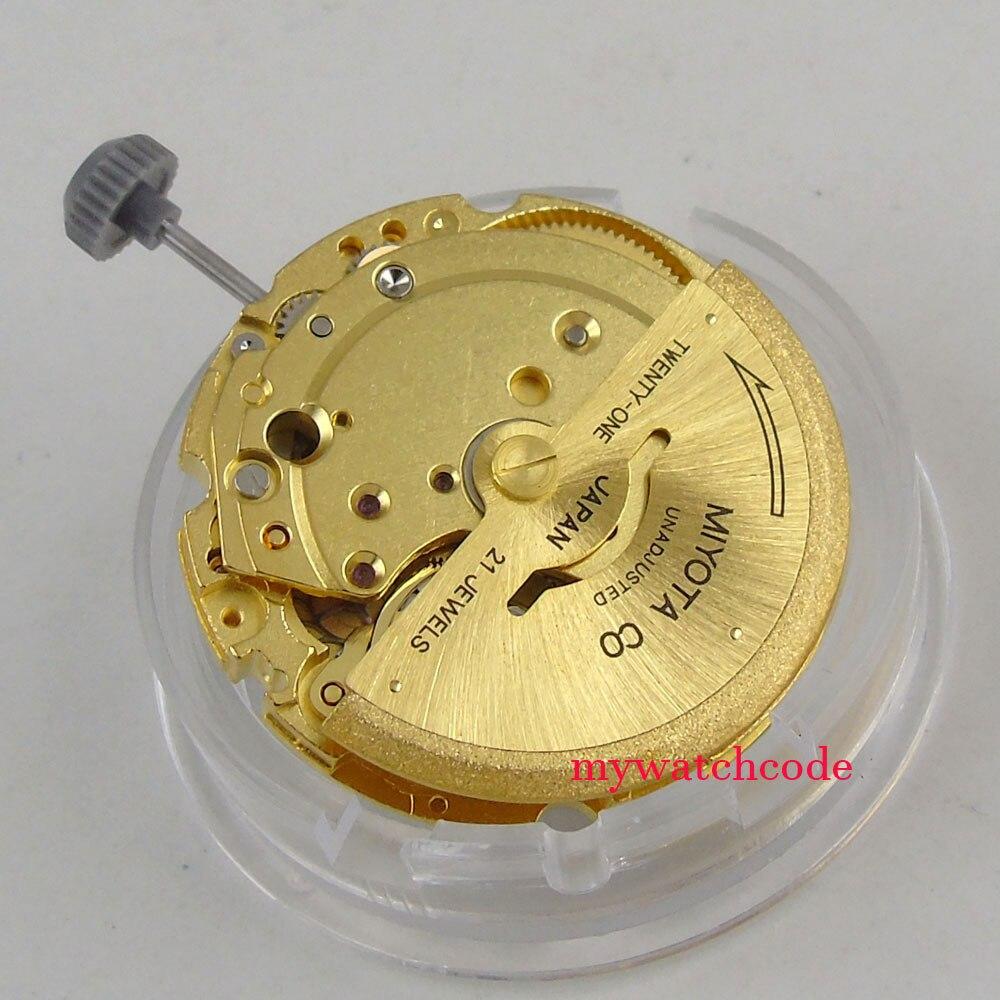 цена 21 jewels golden plated miyota 8200 date window automatic mechanical movement онлайн в 2017 году