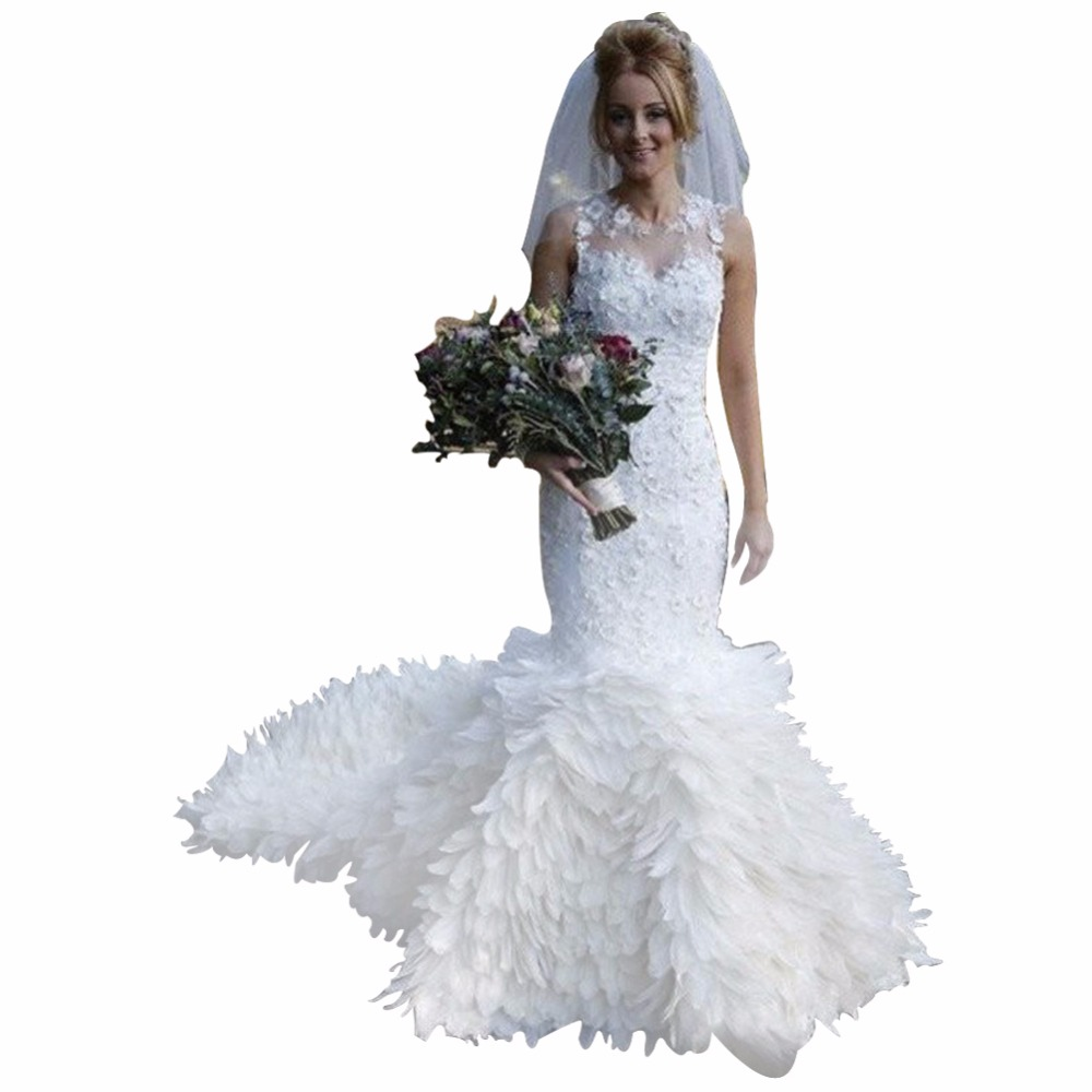 Cheap Wedding Dresses To Rent: ZYLLGF Bridal Elegant Custom Made Trumpet White Bridal