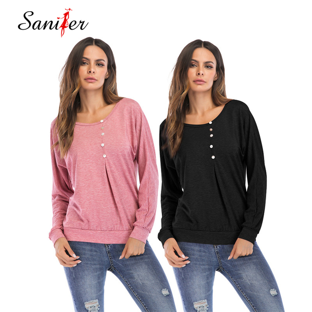 Women Long Sleeve Thin Blouse 2018 Loose Button Shirt Spring Tunic Basic Pullover Tee Tops Plus Size Casual Solid Blusas