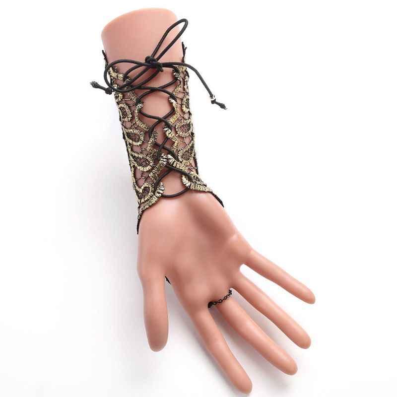 Kadınlar Vintage Retro sineklik elbise eldivenleri delikli Out işlemeli dantel parmaksız bilezik Criss çapraz Lace Up Steampunk