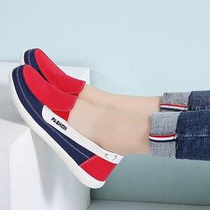 Image 5 - STQ 2020 חורף נשים בד סניקרס לאישה להחליק על מוקסינים נעלי נשים דירות טניס נעלי גבירותיי שטוח להחליק על סניקרס 987