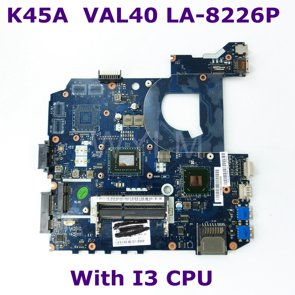 K45A VAL40 LA-8226P Onboard I3 CPU mainboard REV 1.0 For ASUS K45A K45VD A45V K45VM K45VS A85V laptop motherboard 100% TestedK45A VAL40 LA-8226P Onboard I3 CPU mainboard REV 1.0 For ASUS K45A K45VD A45V K45VM K45VS A85V laptop motherboard 100% Tested