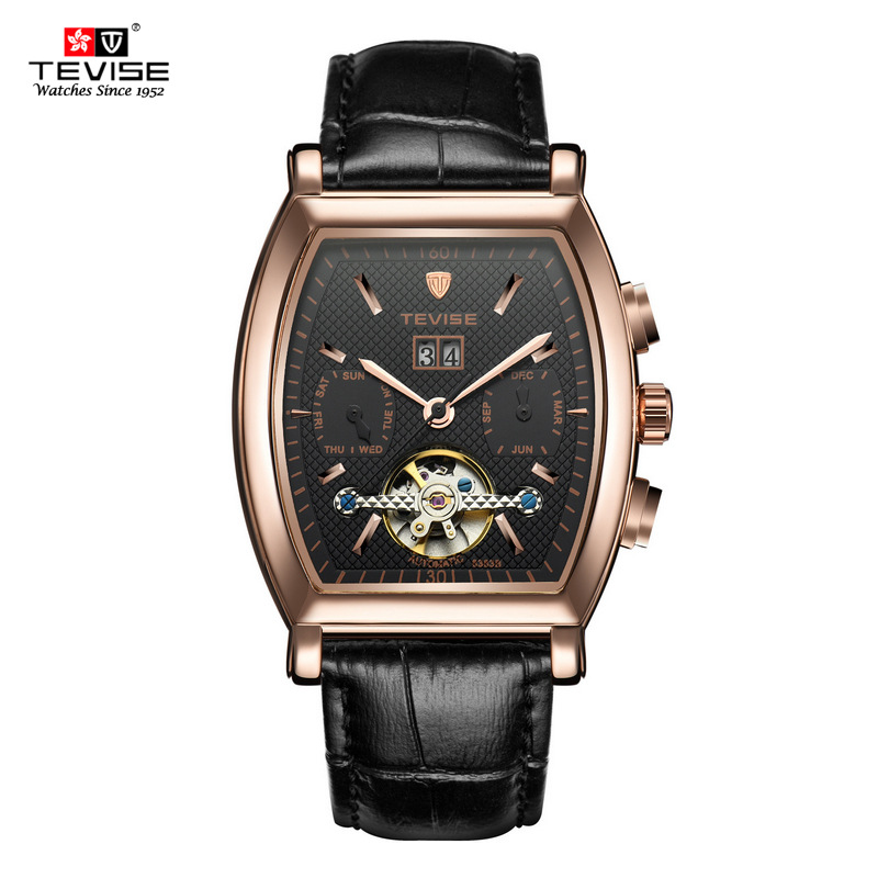 TEVISE Brand High Quality Tourbillon Automatic Mechanical Watches Men Self Wind Business Genuine Leather Calendar Wristwatches business men double tourbillon mechanical watches luxury brand male calendar waterproof watch automatic self wind wristwatch