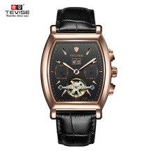 Tevise tourbillon relojes mecánicos automáticos de los hombres de marca de alta calidad auto de viento de negocios calendario relojes de pulsera de cuero genuino
