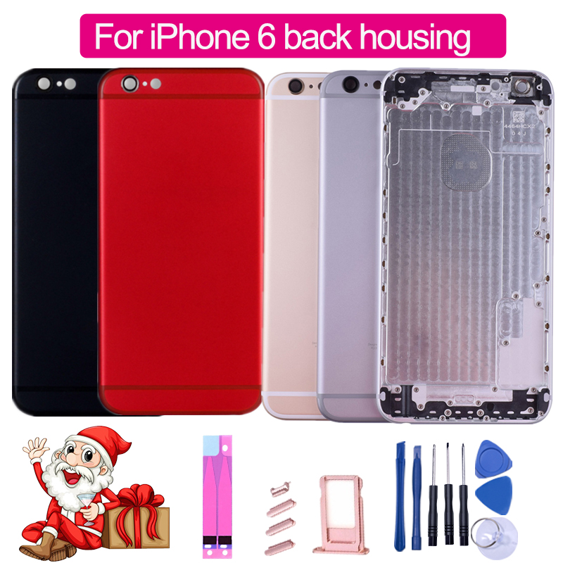 Battery-Cover-Case Housing Chassis-Body Black iPhone 6 IMEI Middle for with And Logo