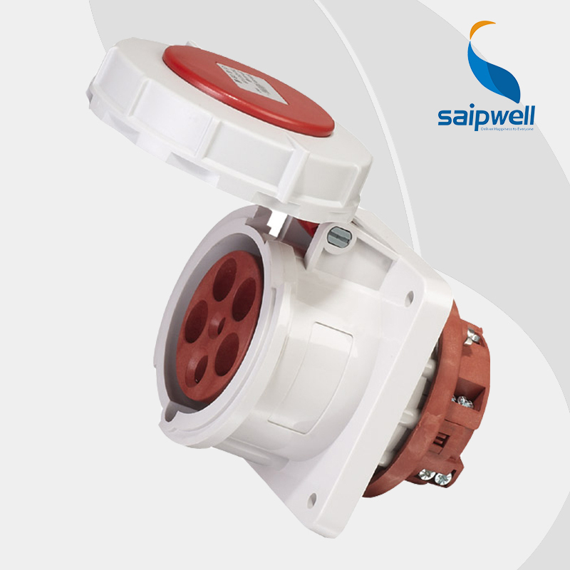 Wholesale Saipwell 5P (3P+N+E) 400V 63A IP67 EN / IEC 60309-2 IP67 waterproof electric socket ac power socket female SP1128 63a 5pin novel industrial hide direct socket connector sfn 3352 concealed installation socket 3p n e cable connector ip67