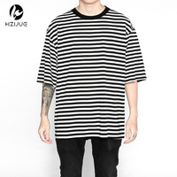 Streetwear Fashion Men Clothes 2017 Urban Brand Clothing Fog Striped Tshirts Korean Hip Hop Extended Oversized