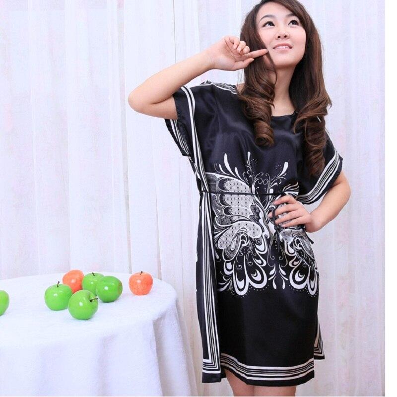 HOOYI 2018 print pijama women nightwear Nightgowns girls Floral sleepwear casual robe night summer dress home clothing
