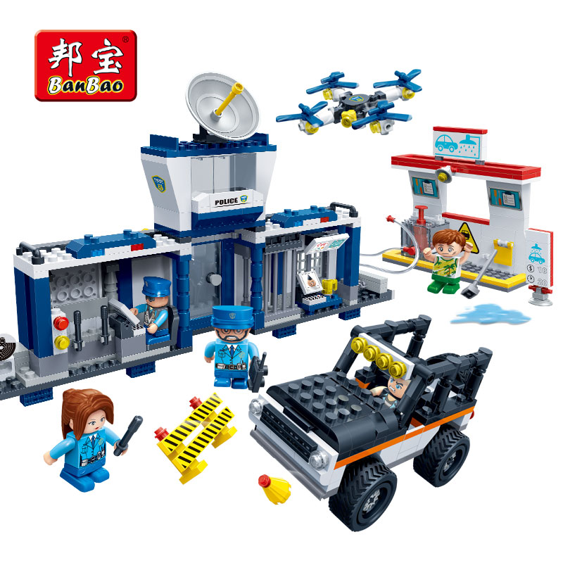 BanBao Police Station Checkpoint UAV Car Wash Bricks Educational Building Blocks Toy Model 7021 Children Kids Gift 407pcs sets city police station building blocks bricks educational boys diy toys birthday brinquedos christmas gift toy