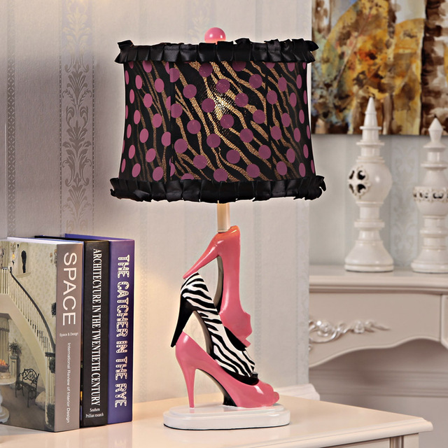 3 Zebra And Pink High Heels LED Table Lamp For Girls Gift For Bedroom Home  Decor