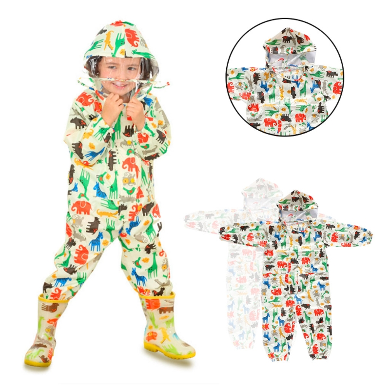 Children Cartoon Rainwear Waterproof Hooded Rain Coat Terylene Outwear Poncho Raincoat
